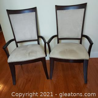 Pair of Contemporary Broyhill Affinity Upholstered Dining Room Arm Chairs