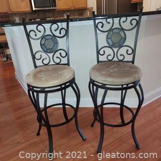 Pair of Round Swivel Seat Wrought Iron Bar Stools