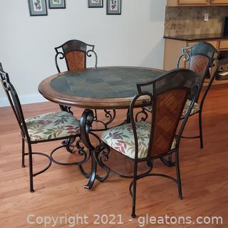 Very Nice Wrought Iron Dinette Set - Table and 4 Chairs – Very Heavy Buyer needs to bring help to move table