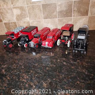 Set of 6 Texaco Texas Co, Reproduction Tanker Trucks/Carriage Banks with boxes