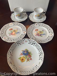 Openwork Porcelain Goldberg Bavaria 7 Piece Decorative Dish Collection
