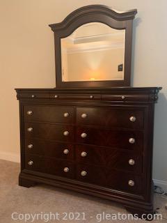 Vaughon Bassett Dresser with Attached Beveled Mirror