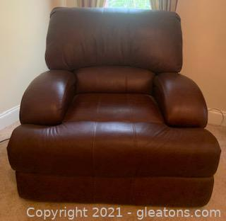 Oversized Brown Leather Motorized Recliner