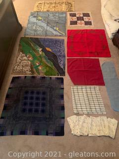 Napkins Scarves and Various Linens