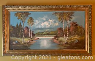 Gorgeous Framed River and Landscape Oil Painting on Canvas