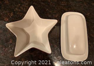 Cordon Bleu Covered Butter Dish and Star Dish