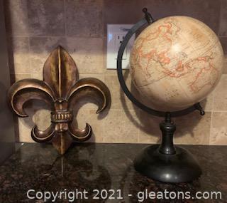 Desk Globe and Fleur-De-Lis Decor