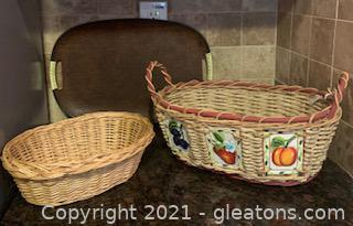 Three Piece Basket and Serving Tray Lot