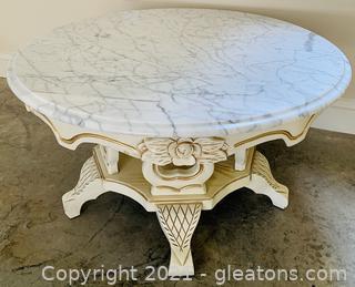Carlton McLendon Victorian Marble Top Coffee Table