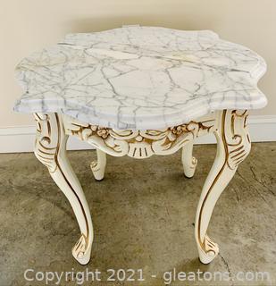 Carlton McLendon Victorian Marble Top Lamp Table