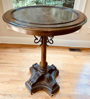 Wood Inlay High Cocktail Pedestal Table