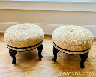 A Pair of Louis XL Chenille Foot Stools