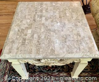 Handmade Carved Side Lamp Table
