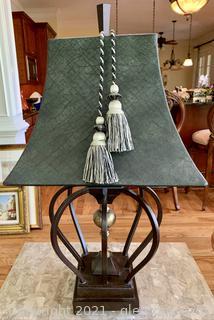 Polished Metal Framed Table Lamp
