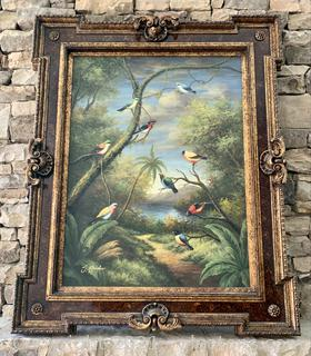 Magnificent Tropical Bird Paradise Painted Framed Canvas