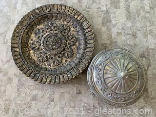 Ornate Decor Tray and Mirrored Vessel