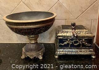 Angel Decor Box and Cut Glass Bowl