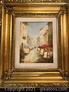 Charming Framed Painting of European Street Scene