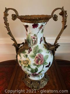 Floral Porcelain and Brass 2 Handled Vase
