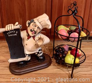 """""""Today's Special"""" Chef and 2 Tier Fruit Bowl"""