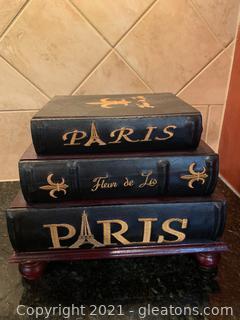 Fleur De Lis Faux Book Staging Decor with Storage
