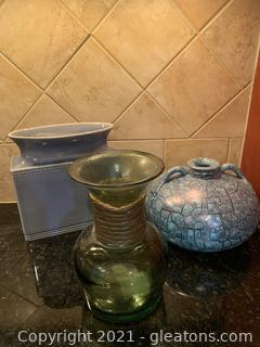 Three Piece Blue and Green Staging Decor Lot