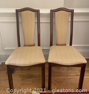 Two Mid Century Modern Custom Upholstered Dining Chairs