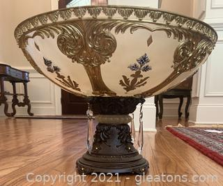 Decorative Bronze Inspired Tabletop Bowl with Faux Crystals