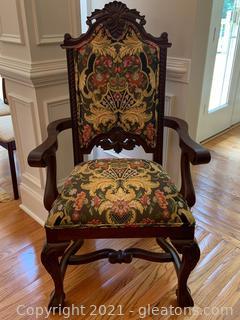 Andre Originals Carved Mahogany Custom Arm Chair