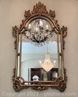 Golden Double Framed Ornate Wall Mirror