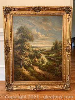 Oversize Gilded Framed Landscape Oil Painting