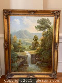 Oversize Beautiful Framed Oil Painting Depicting a Waterfall