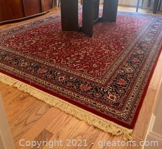 Navy and Red Sarouk Wool Area Rug