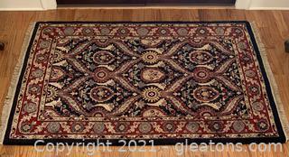Handmade Naseem Navy and Red Wool Area Rug