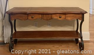 Beautiful Carved Console Table With Metal Edges/Feet