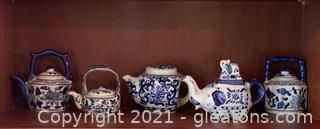 Five Piece Gorgeous Little Blue and White Teapot Collection
