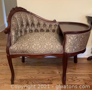 Carved Mahogany Telephone Gossip Chair