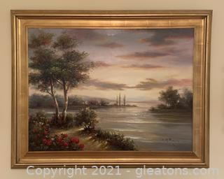 Framed and Signed Oil Painting with Gold Gilded Frame