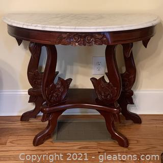 Carved Mahogany and Marble Demilune Table