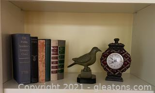 Books Bird and Clock Decor
