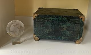Green Decor Box and Glass World Decor