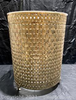 Lovely Weaved Gold Waste Basket
