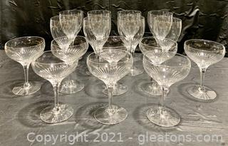 Brilliant Cut Glass Champagne and Wine Glass Set