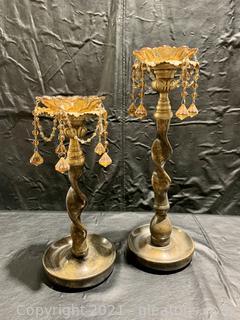 A Pair of Beaded Bronze Candlesticks
