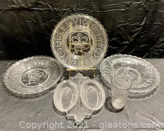 God Save the Queen and King Glass Memorabilia