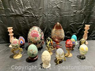 Collection of Ornamental Eggs and Stands