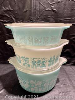 Set of Pyrex Amish Butterprint Cinderella Bowls