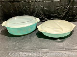 Set of 2 Pyrex Blue Turquoise Snowflake Dishes