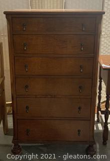 Antique Tiger Maple Dresser with Brass Hardware
