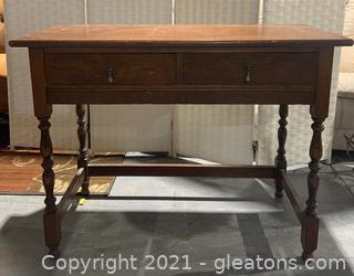 Antique Tiger Maple Console Table with Turned Legs and Brass Hardware